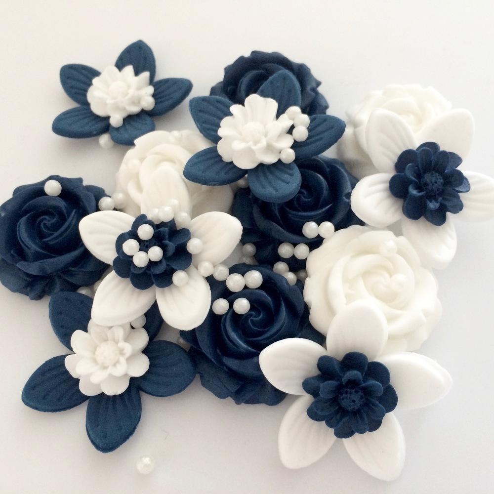 Navy White Flowers
