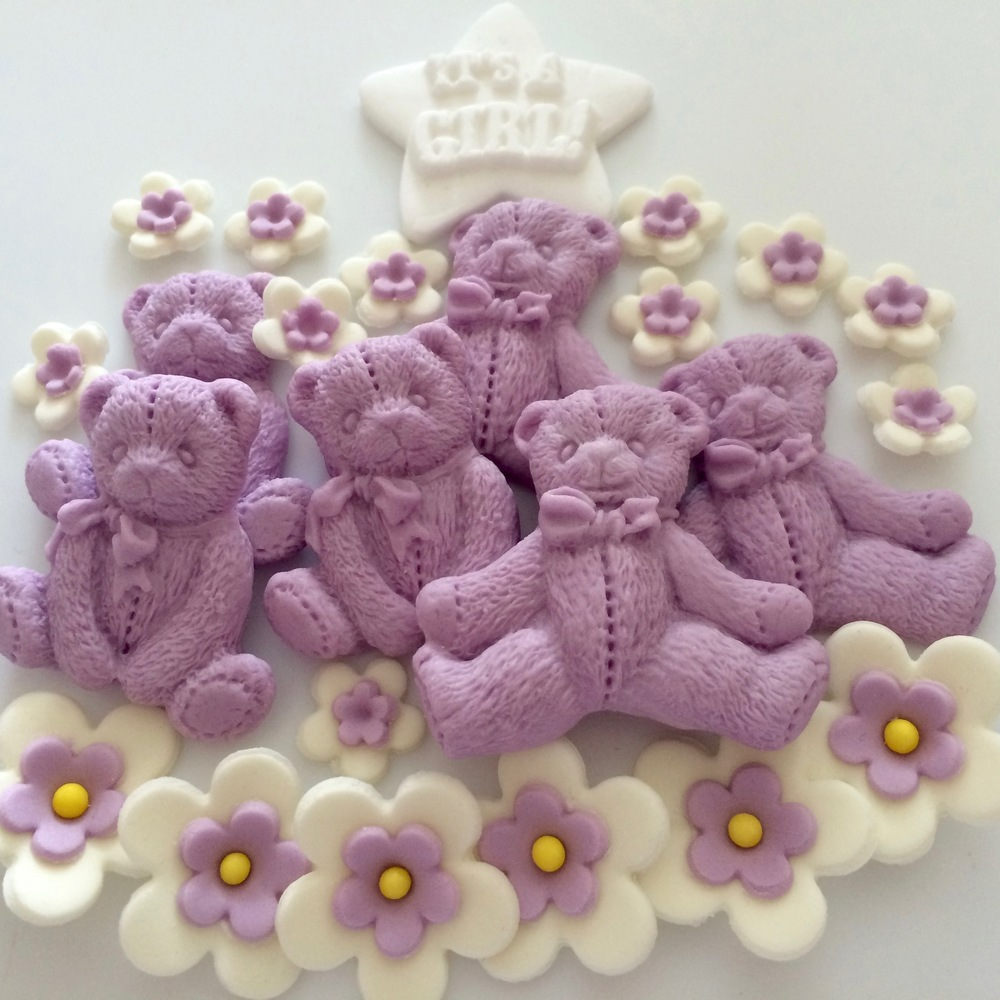 Lilac Sugar Flowers & Bears