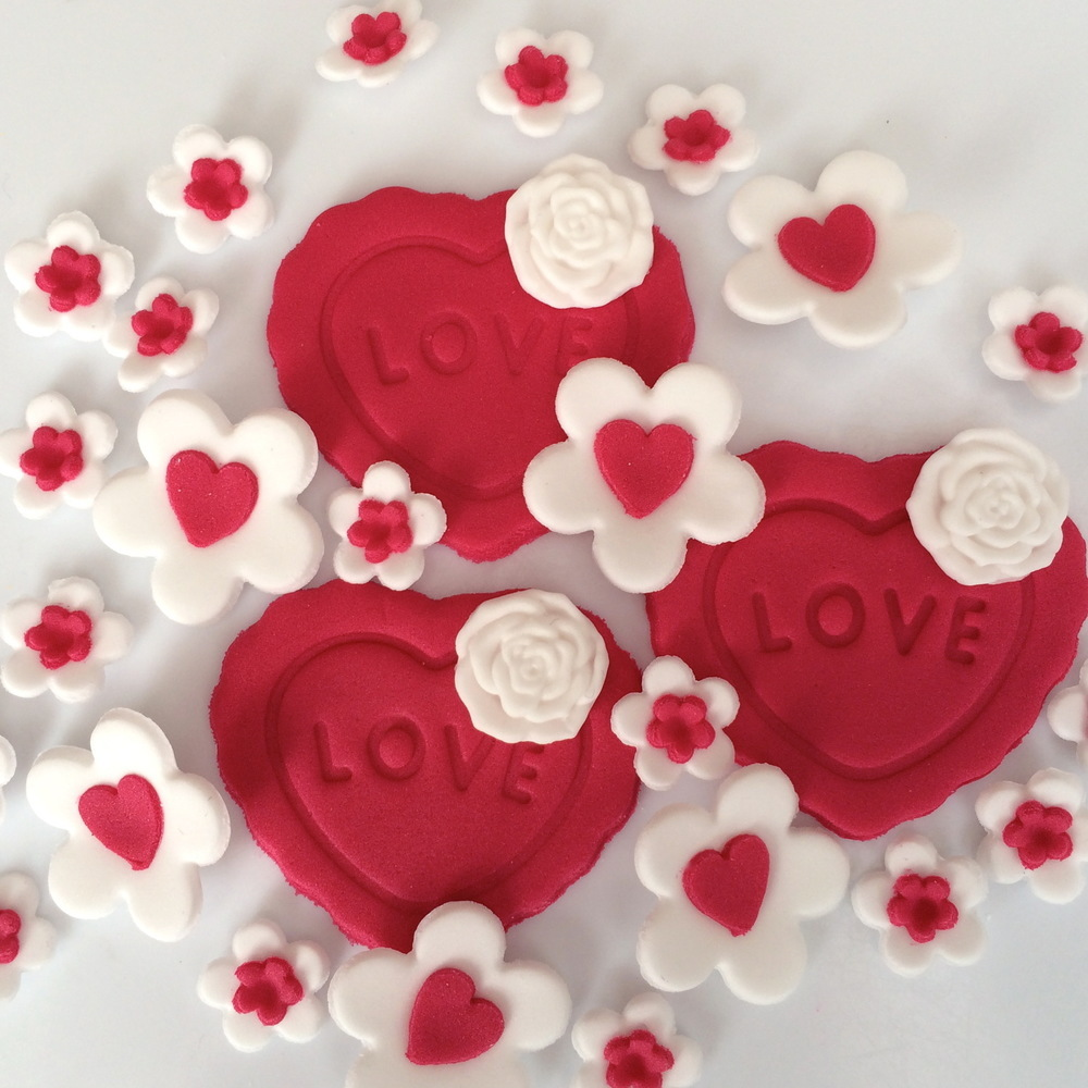 Red Hearts White Blossoms