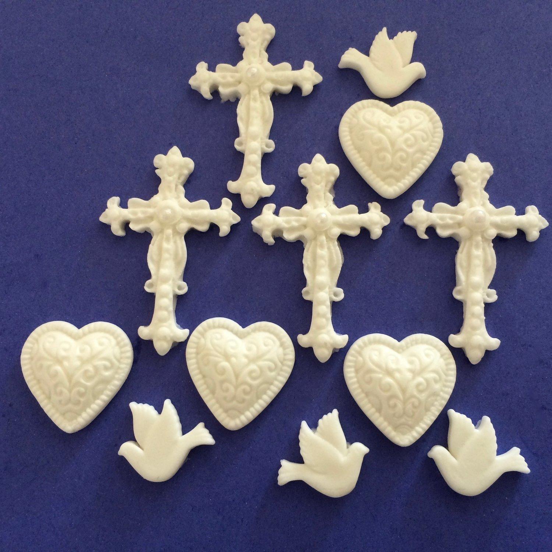 Sugar Cream Crosses, Hearts & Doves