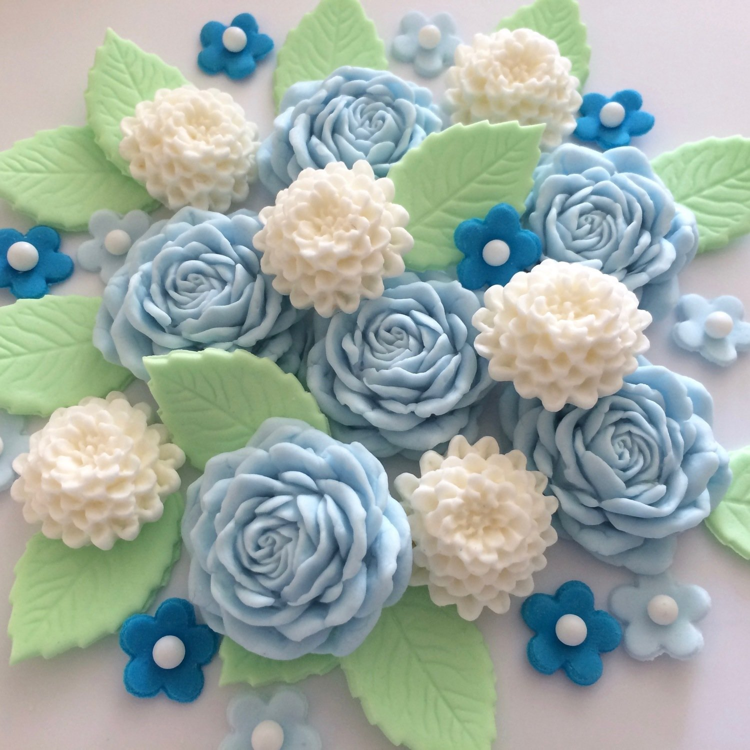 Blue Roses Cream Chrysanthemums