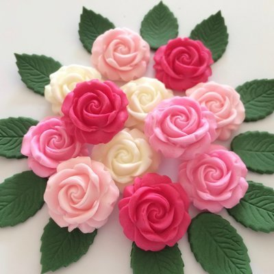 Pink Mix Roses & Leaves