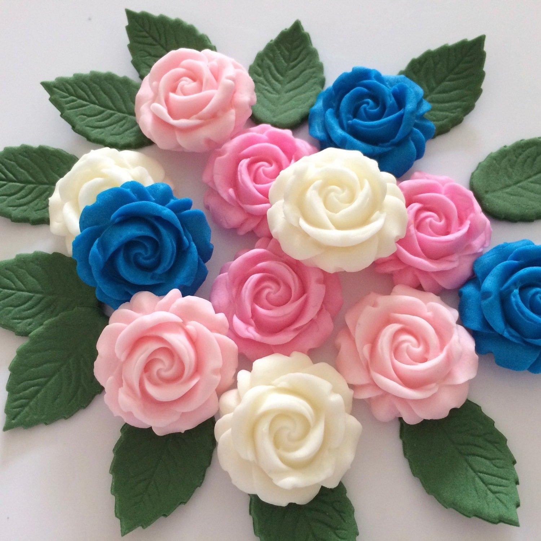 Blue Pink Roses & Leaves