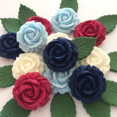 Navy Blue Ruby Ivory Roses
