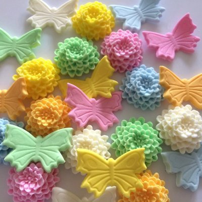 Pastel Butterflies & Mums