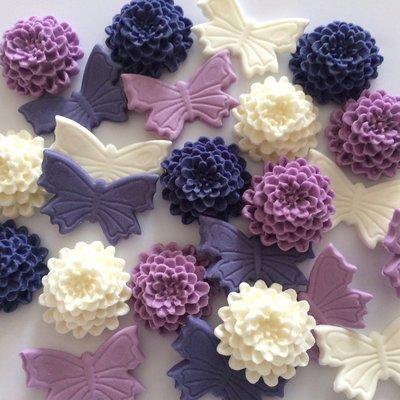 Purple Ivory Butterflies & Mums