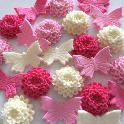 Pink Cream Butterflies & Mums