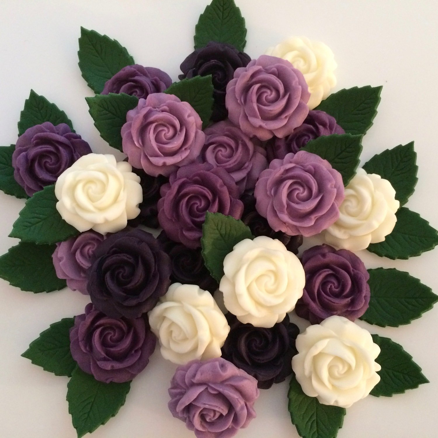 Purple Mix Roses & Leaves
