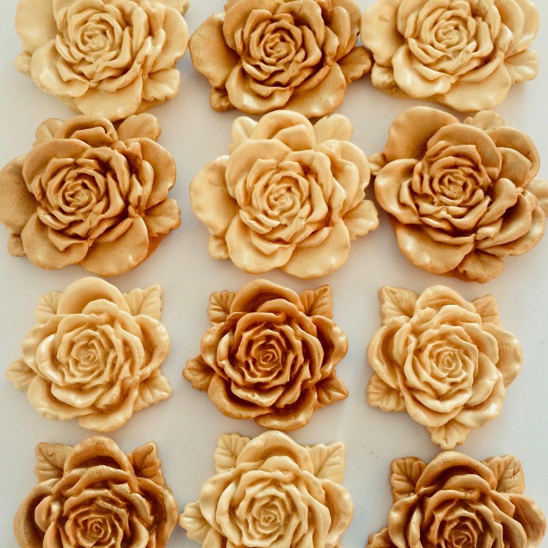 Large Gold Sugar Roses