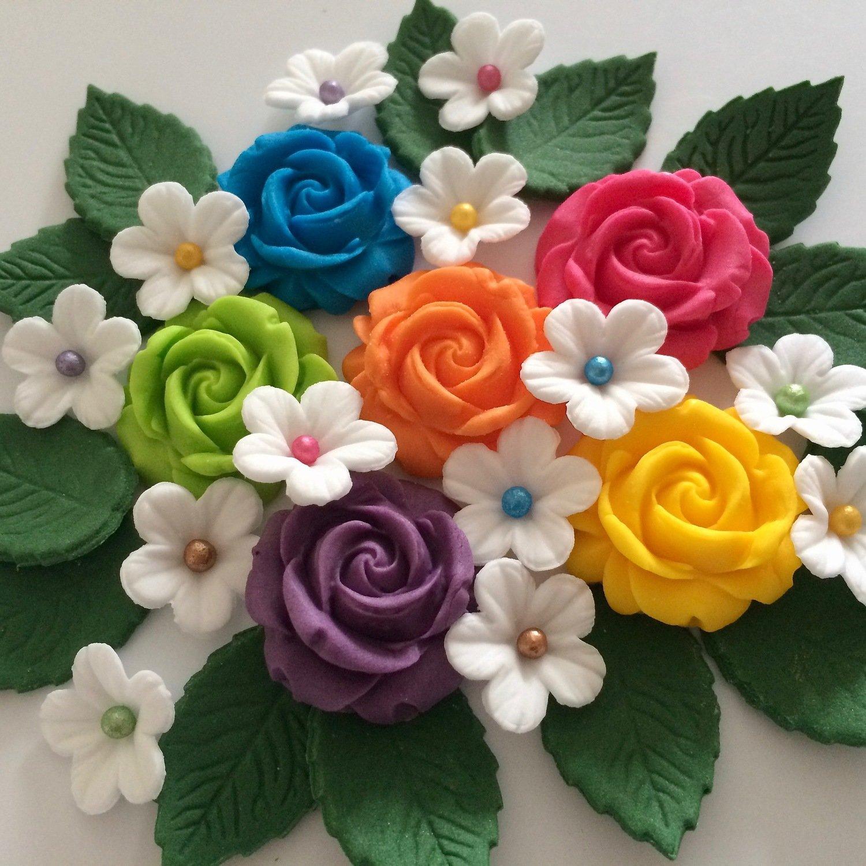 Rainbow Roses & Leaves