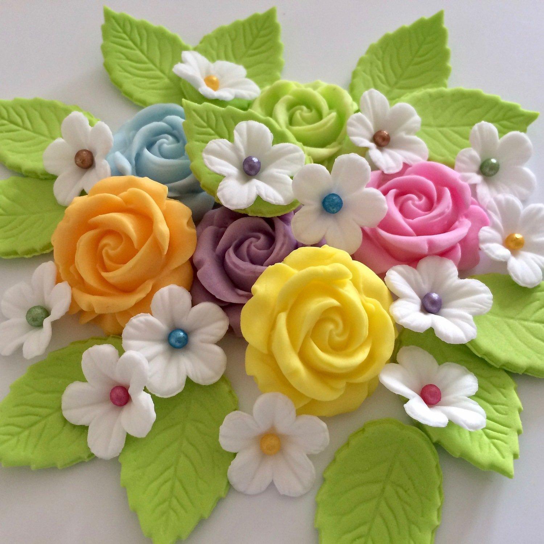 Pastel Roses & Leaves
