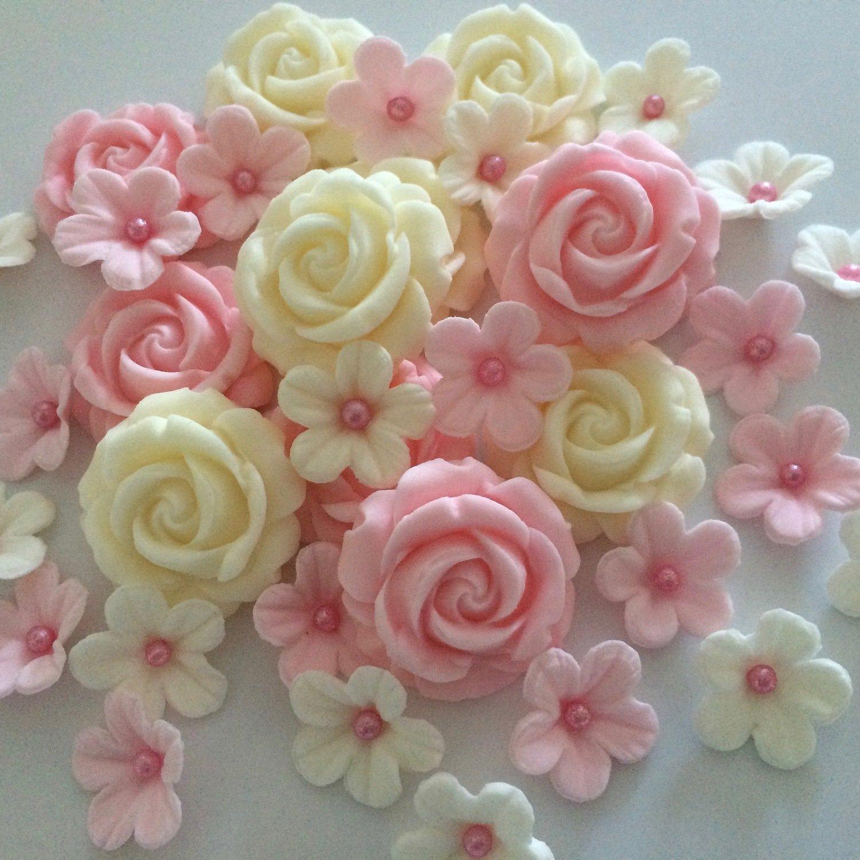 Pink Blush Cream Sugar Roses & Flowers