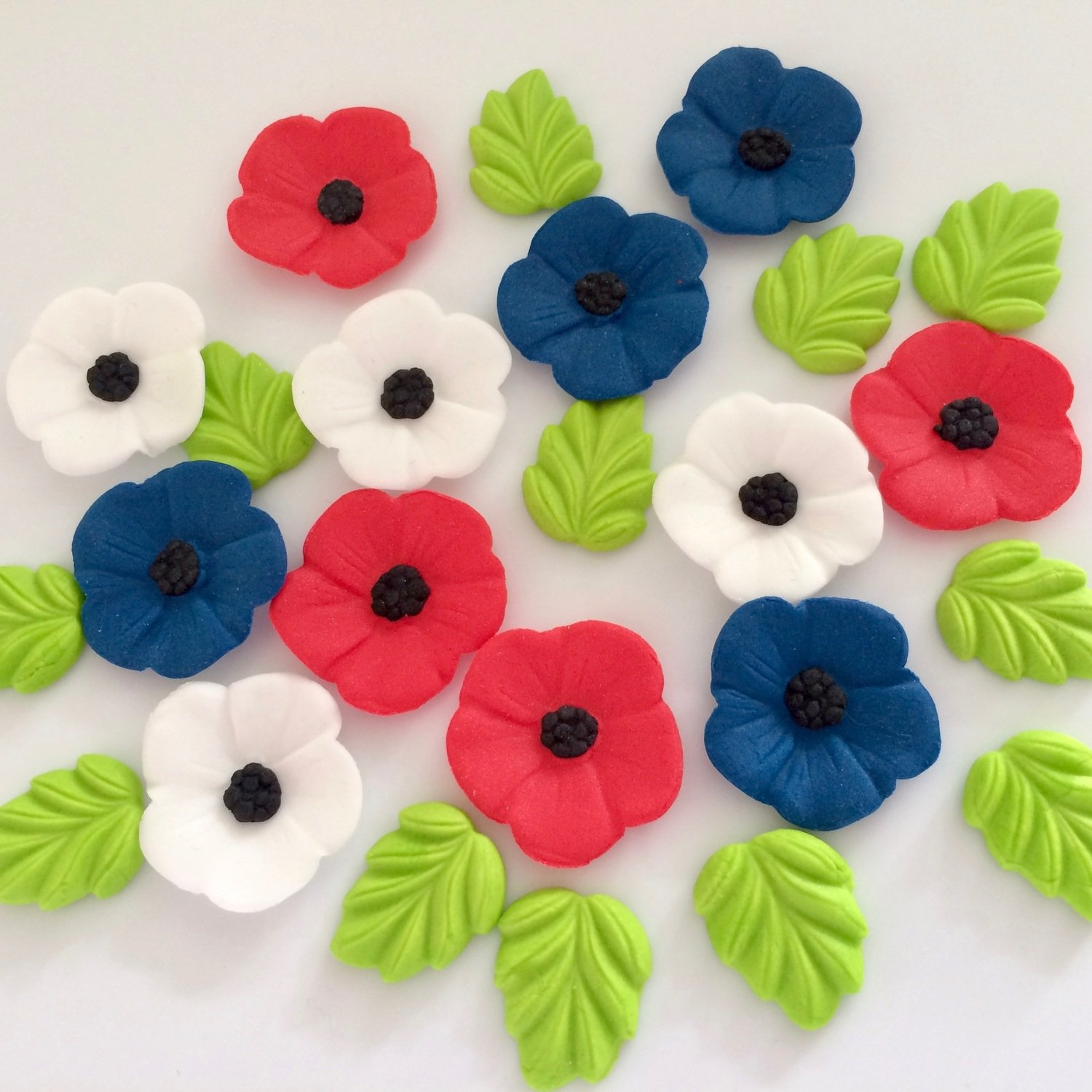 Red Blue White Poppies