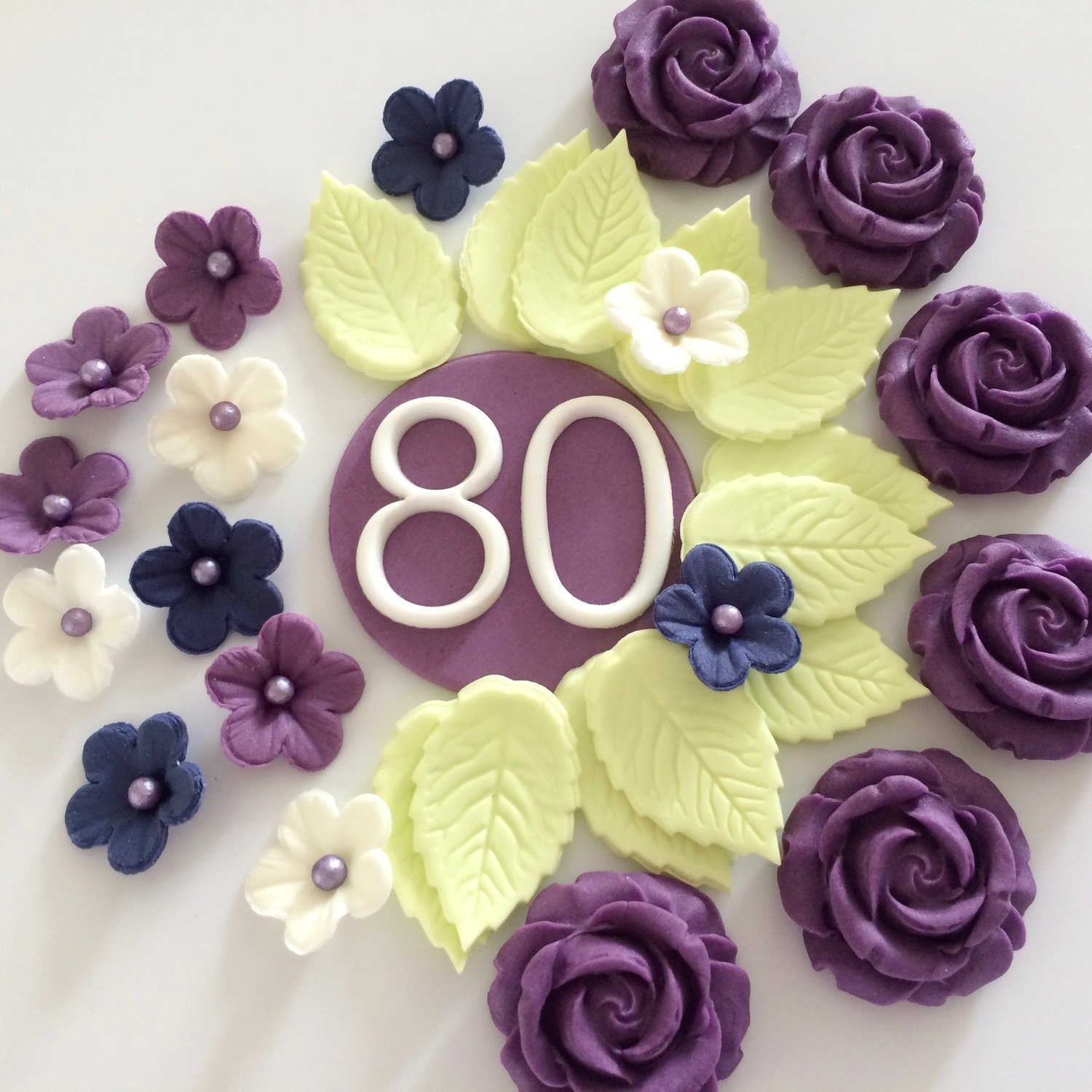 Incredible 80Th Birthday Cake Decorations Edible Sugar Flowers Funny Birthday Cards Online Aboleapandamsfinfo