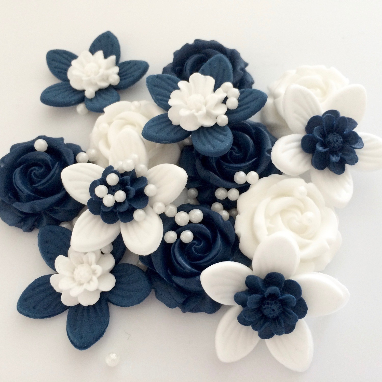 Navy White Flowers