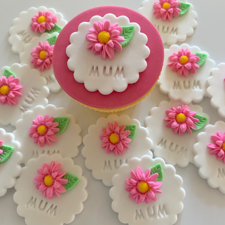 White Mum Cupcake Toppers