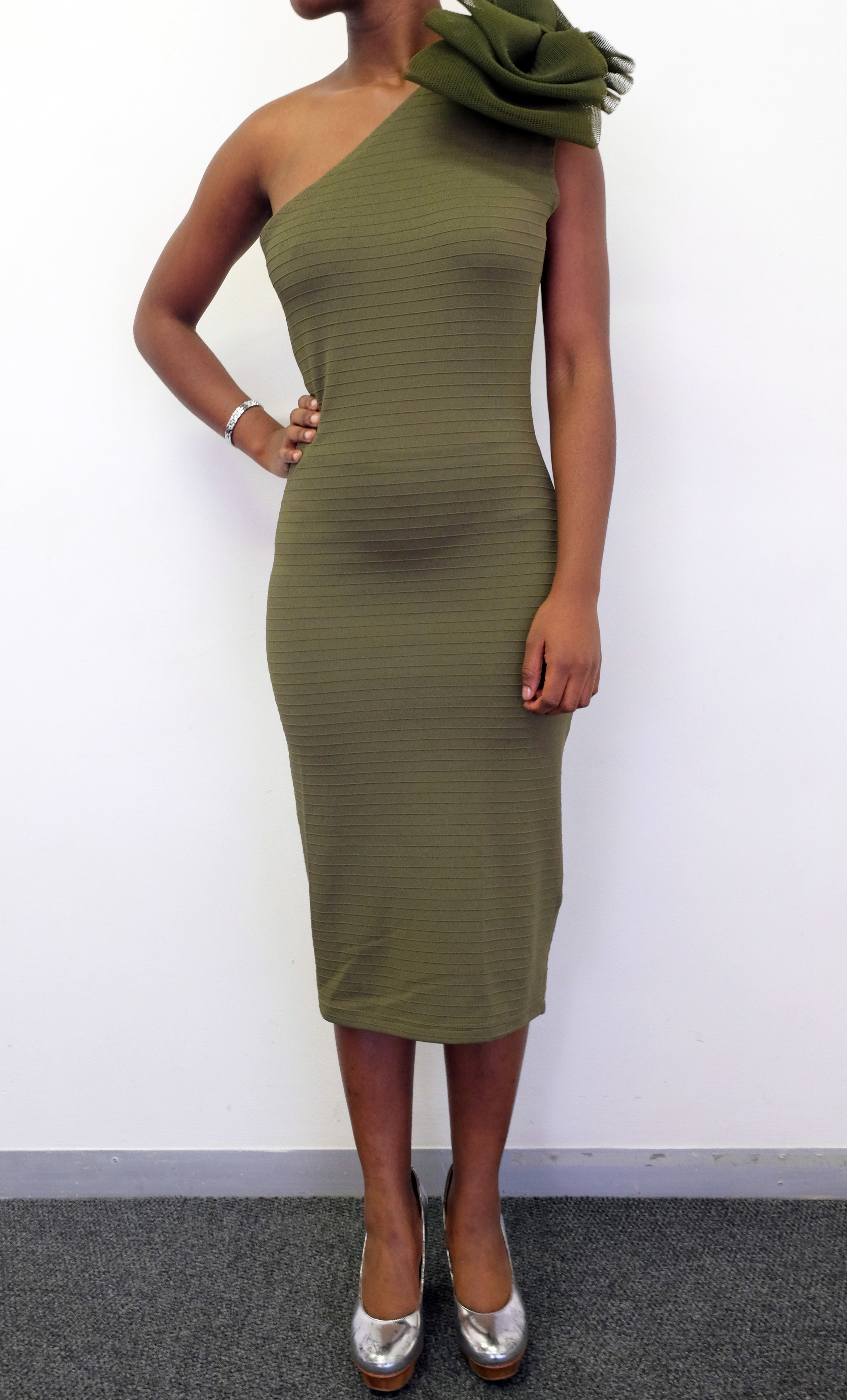 Gert-Johan Coetzee One Shoulder Bow Dress, Col. Olive, Size S 00003