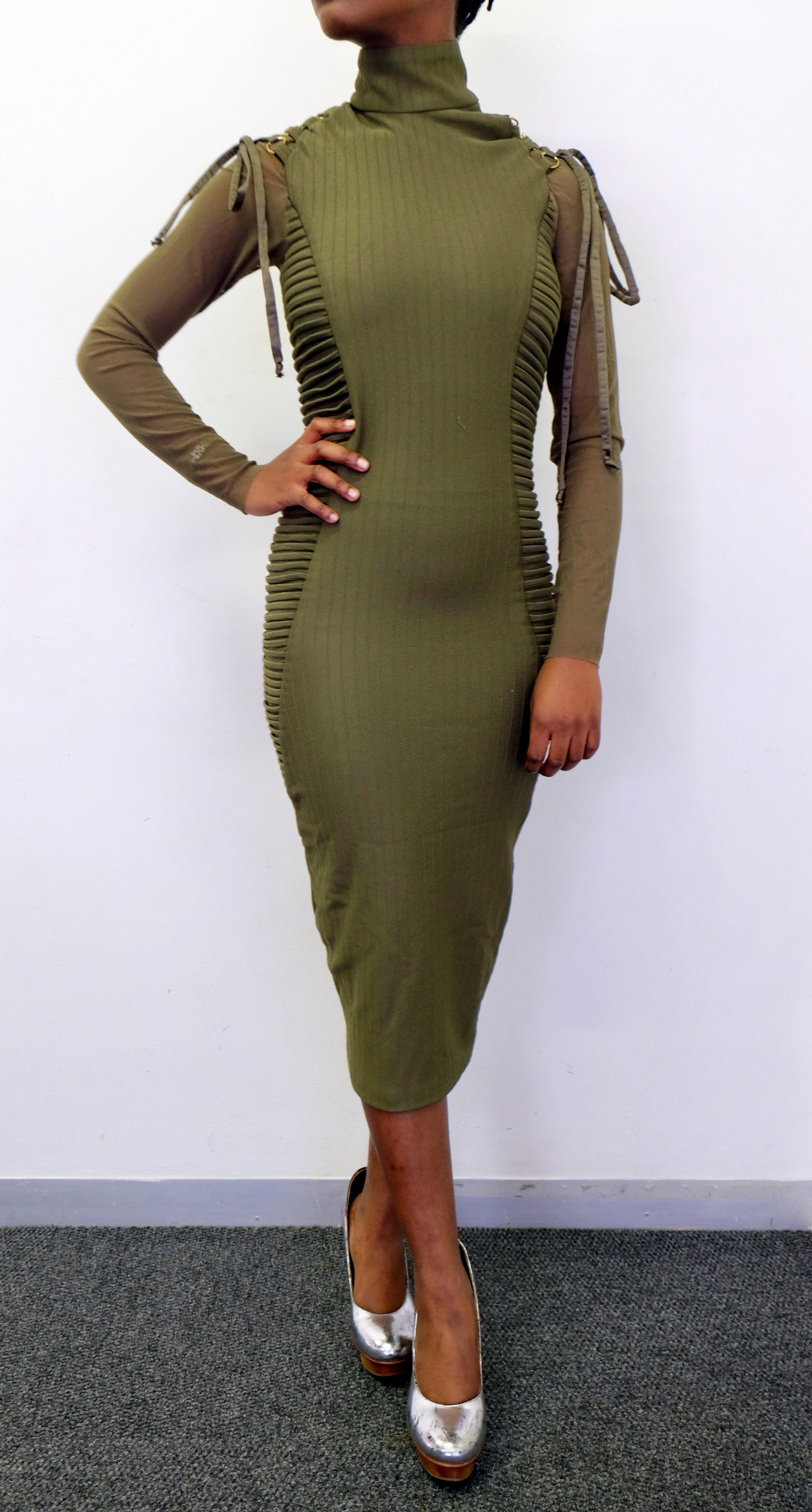 Gert-Johan Coetzee Pin-tuck Bodycon Dress, Col. Olive, Size S 00004