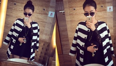New Autumn Women Outerwear Striped Printed Jacket Slim