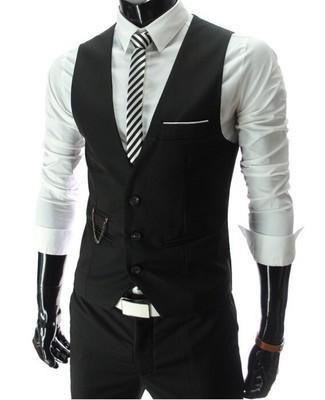 Men Slim Fit Mens Suit Vest Male Waistcoat Gilet Homme