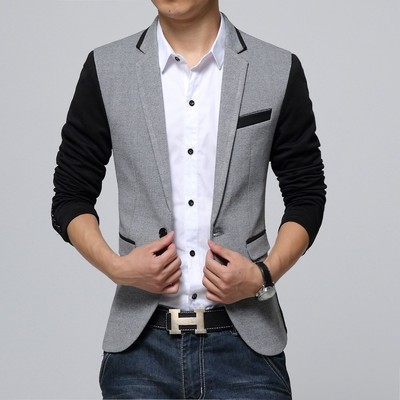 Men Blazer Jacket Single Button Gray Mens Suit Jacket 2015