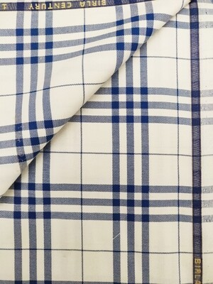 Birla Century white and blue mix pure cotton shirt fabric