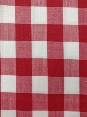 KVB Red designer check shirt fabric