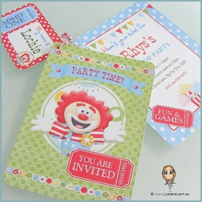 Big Top Party Invitation Set With Sticker x 10