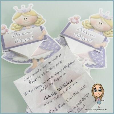 Fairytale Dreams Purple Princess Novelty Invitation x 10