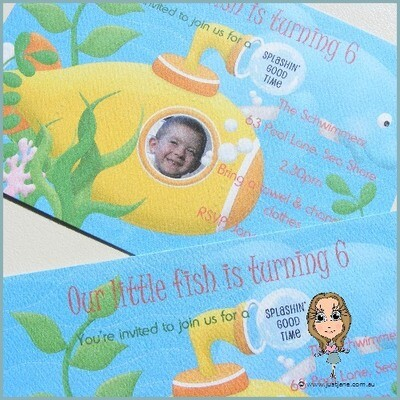 Little Fishes Photo Personalised Invitation