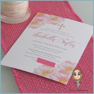 First Holy Communion Pink Floral Invitation x 10