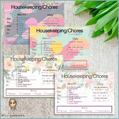 Customised Printable Chore/Tasks Chart - Daily, Weekly, Monthly tasks