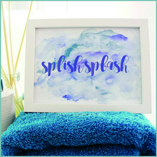 Bathroom Print - Splish Splash - blue, turquoise, purple - printable