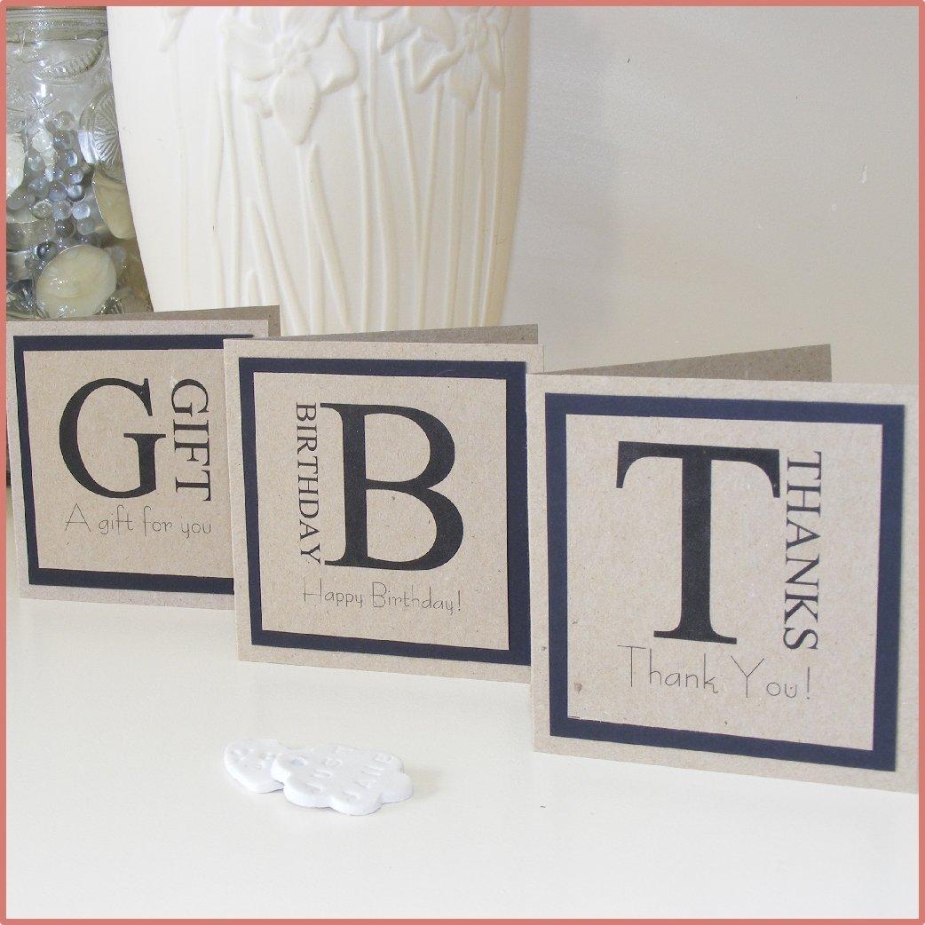 Set of 3 - 10cm Square Mini Card. 'Thanks', 'Birthday' or 'Gift'
