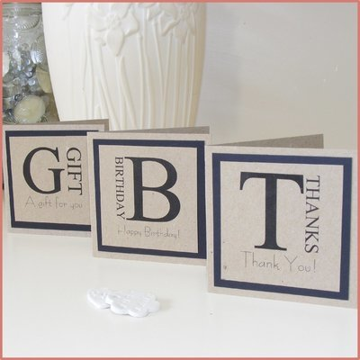 Set of 3 - 10cm Square Mini Card. 'Thanks', 'Birthday' or 'Gift'