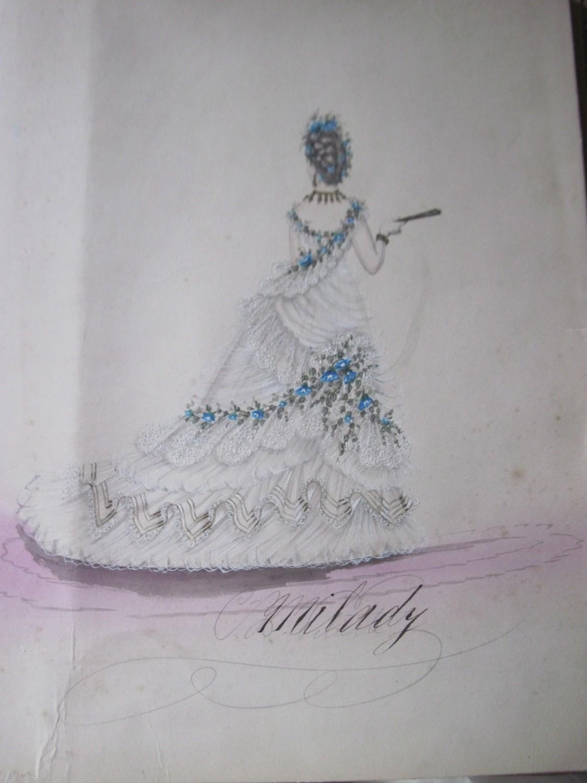 Mode Kleider Pariser Aquarell Entwürfe Um Für 1870 Damen Original kZPTOXiu