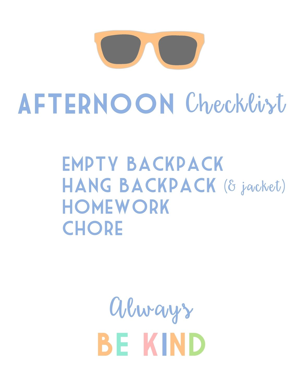 Kids Afternoon Checklist