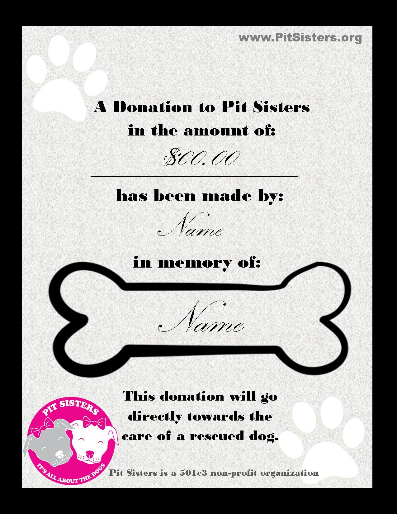 In Memory of: Donation Certificate 00050