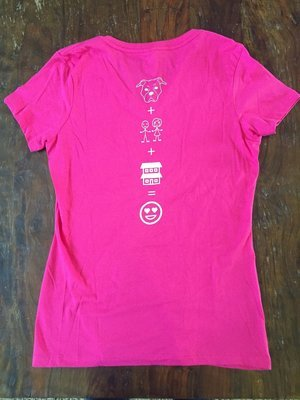 Ladies Pink, V-neck T-shirt, Emoji  - Large