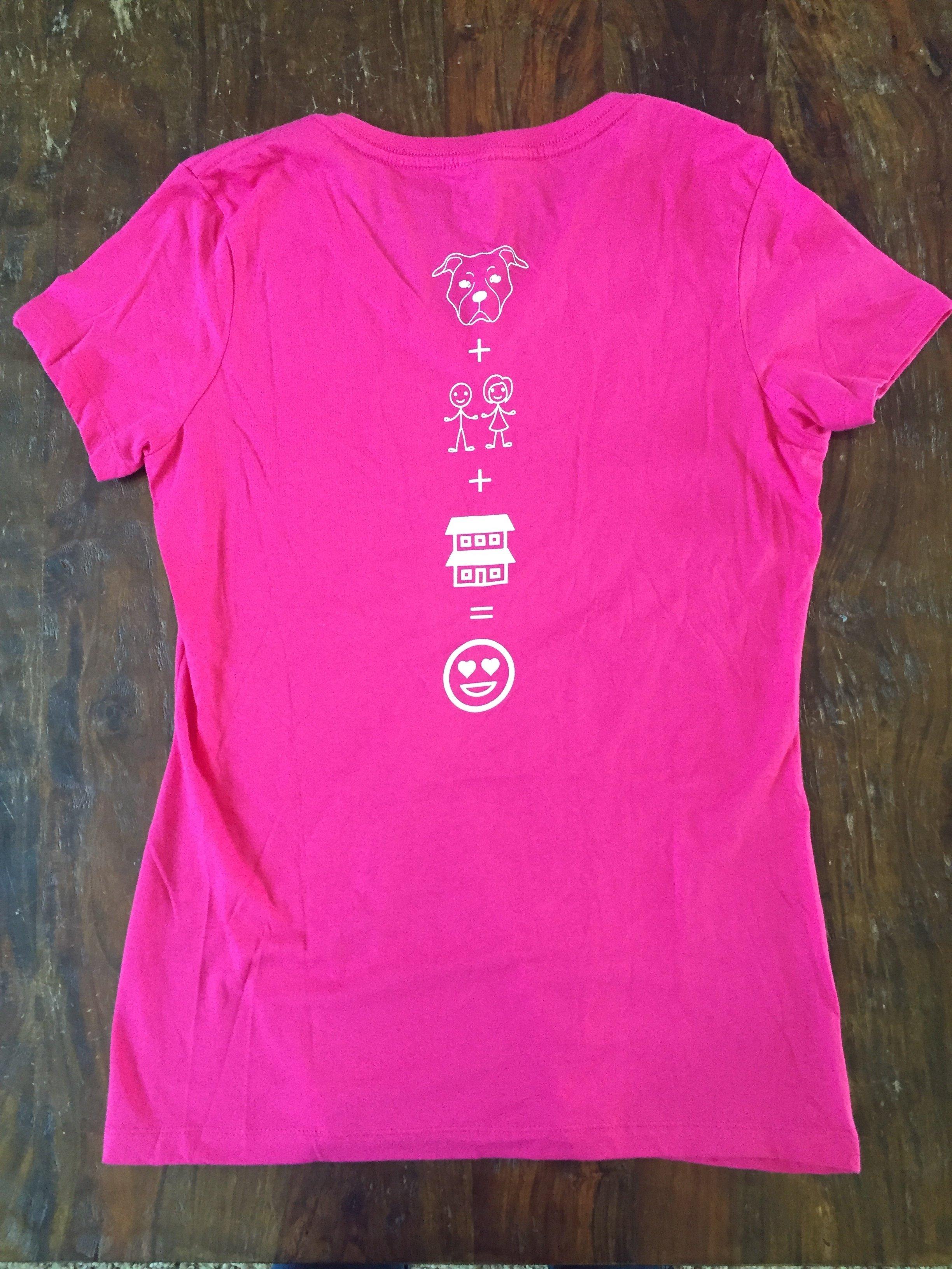 Ladies Pink, V-neck T-shirt, Emoji  - Medium 55612
