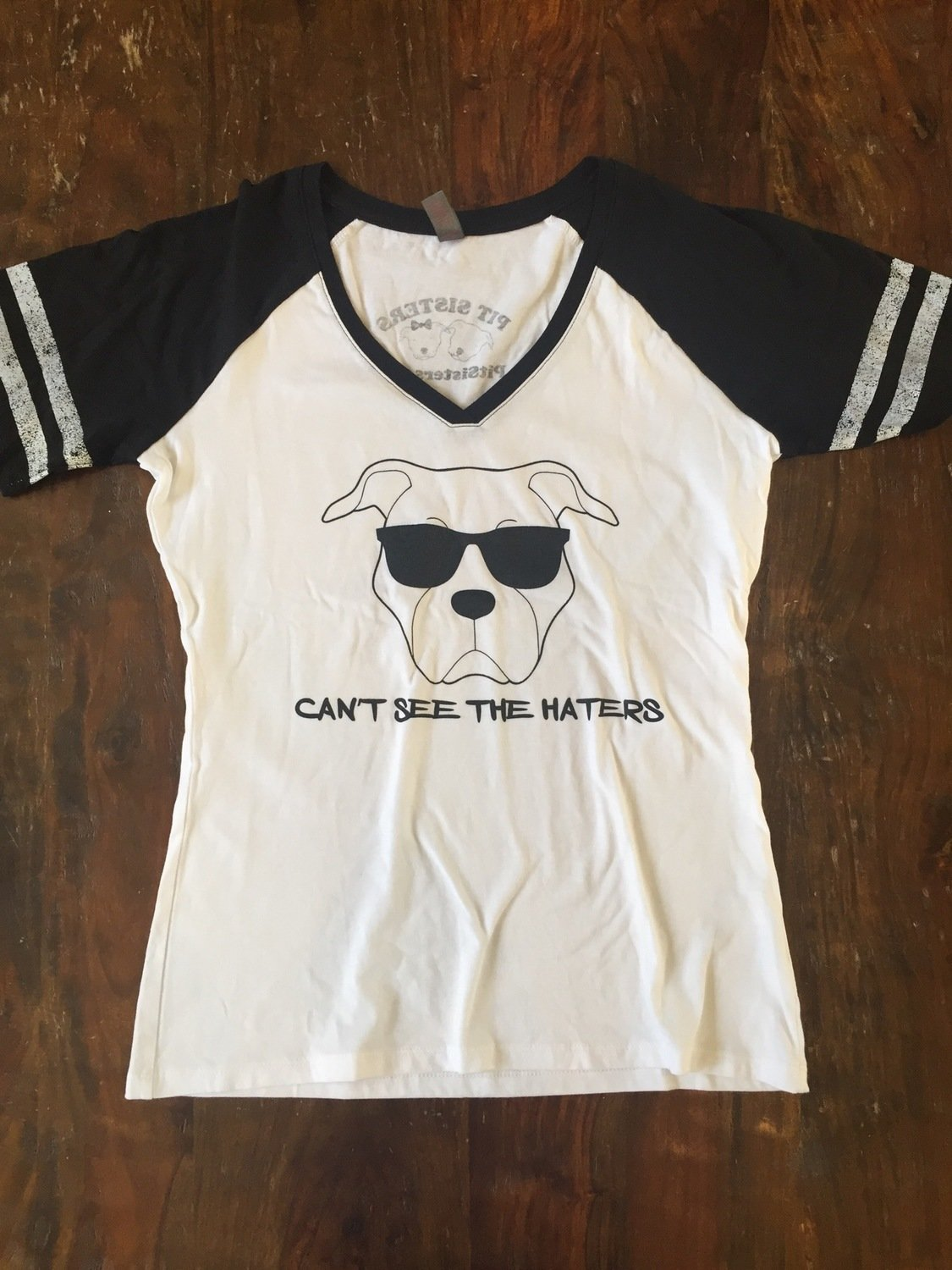 Ladies Vneck- Can't See the Haters- White and Black with Black writing - Large