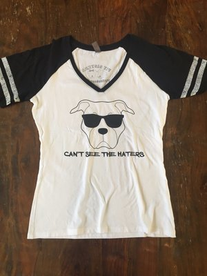 Ladies Vneck- Can't See the Haters- White and Black with Black writing - XLarge