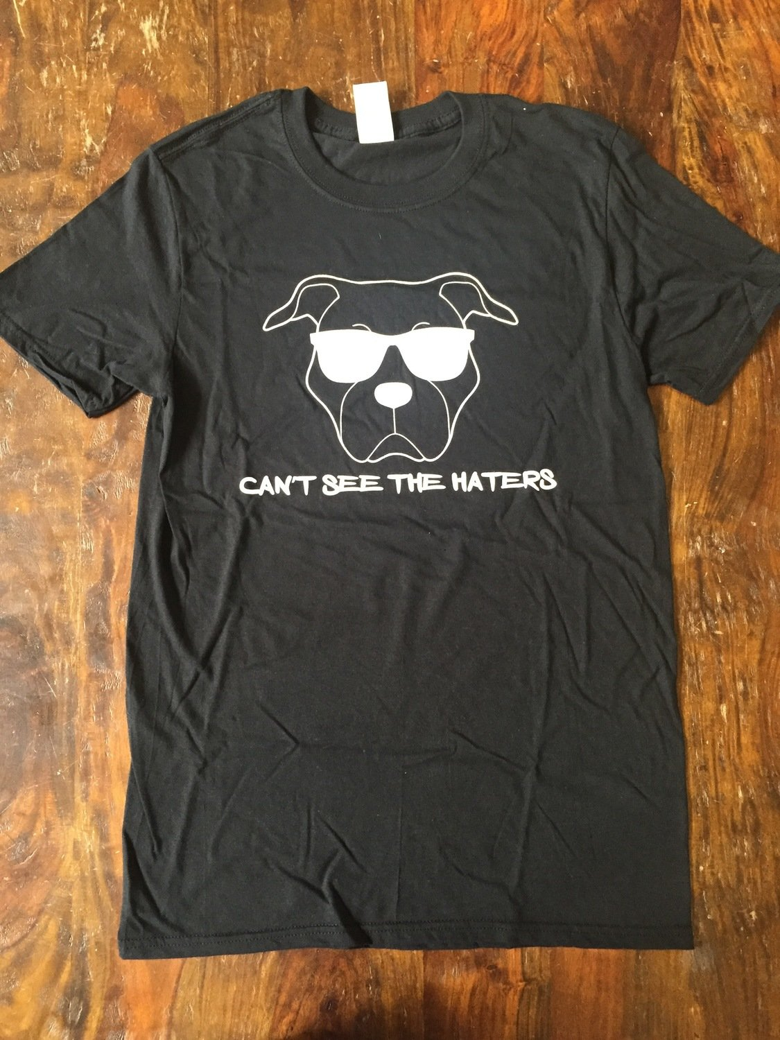 Mens Black T-Shirt- Can't See the Haters - Medium