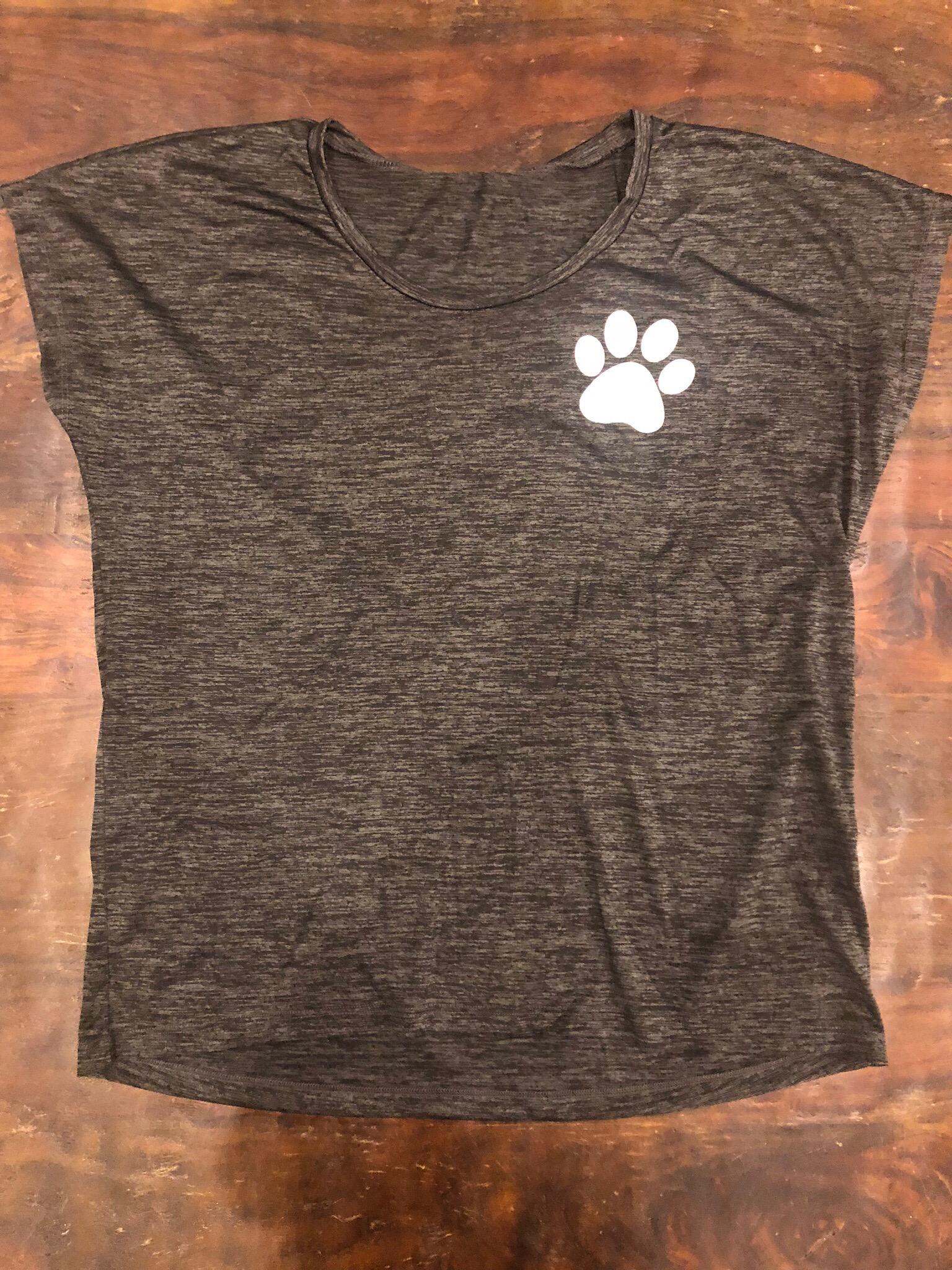 "Ladies Gray short sleeve Sport-Tek ""Rescue-Foster-Adopt""- Large 55682"