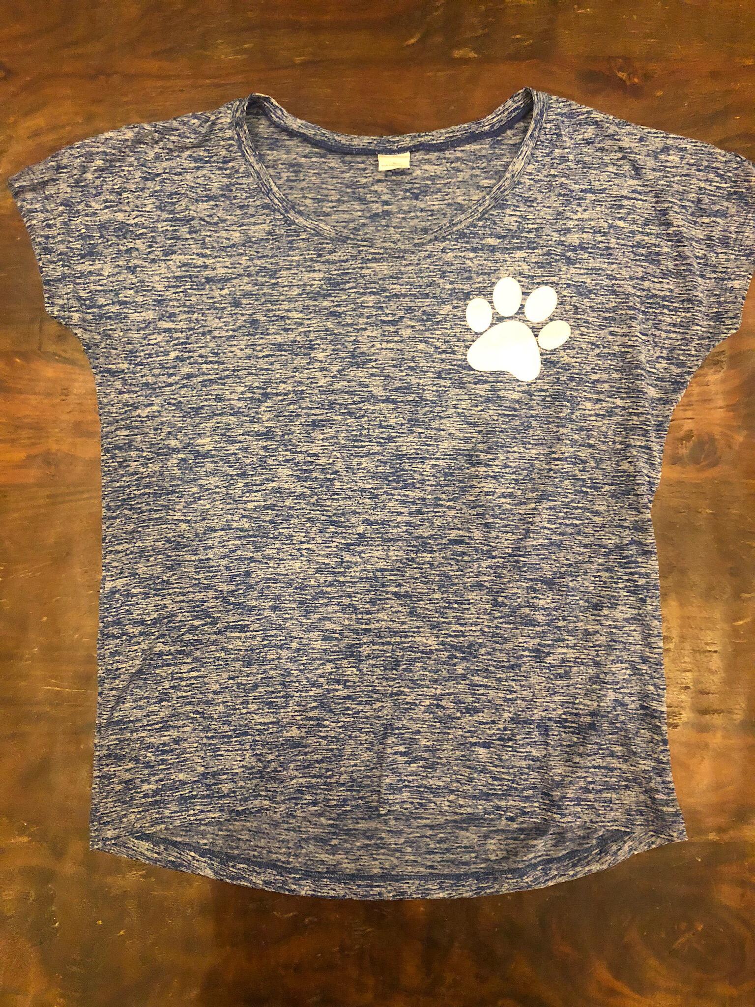 "Ladies Blue short sleeve Sport-Tek ""Rescue-Foster-Adopt""- XL 55687"