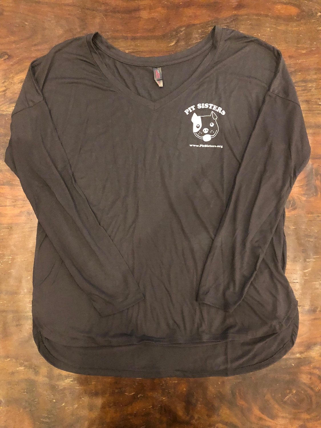 Gray long sleeved VNeck with Pit Sisters logo- Small