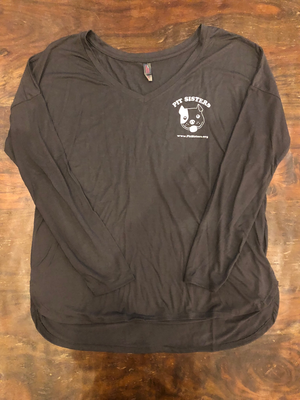 Gray long sleeved VNeck with Pit Sisters logo- XL