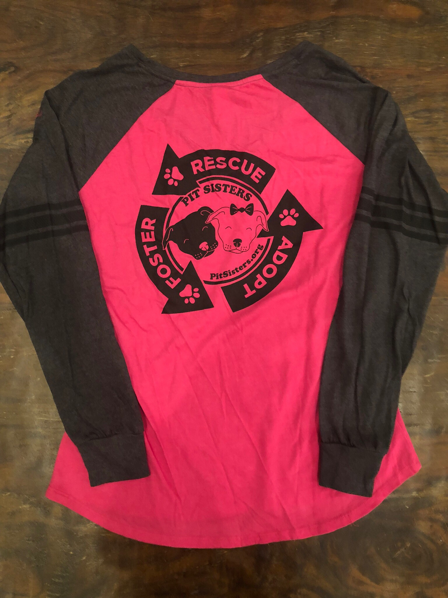 """Pink with Gray Long sleeved VNeck """"Rescue-Foster-Adopt"""" - Large"""