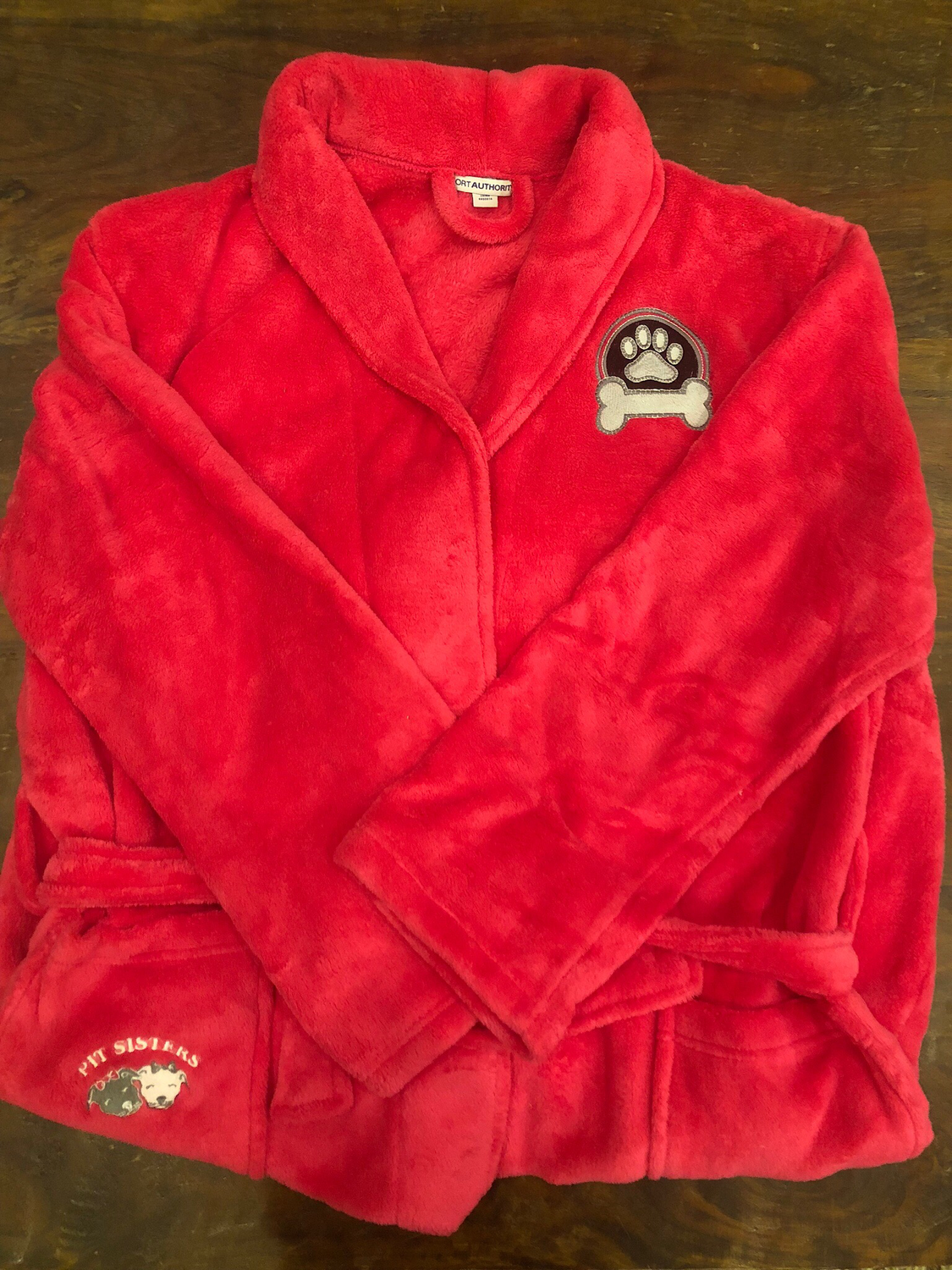 Bath robe: Pink with Silver paw- L/XL