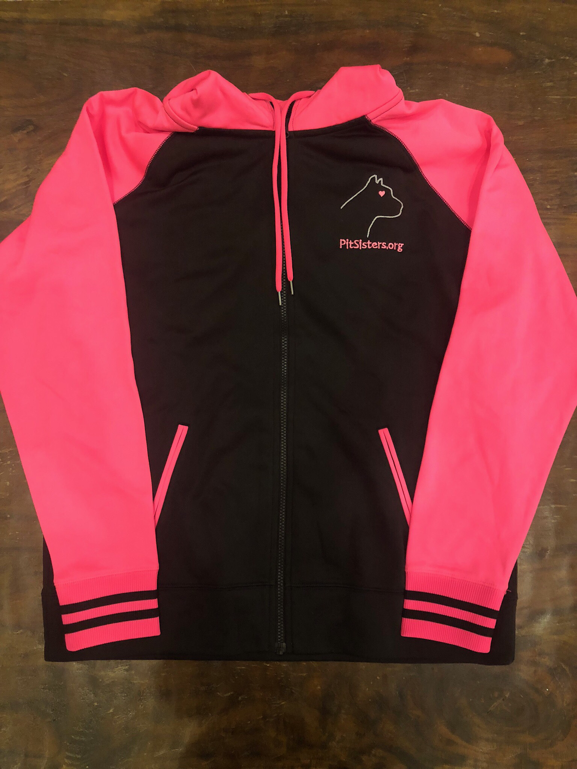 Black with Pink hooded, zip front jacket - Medium